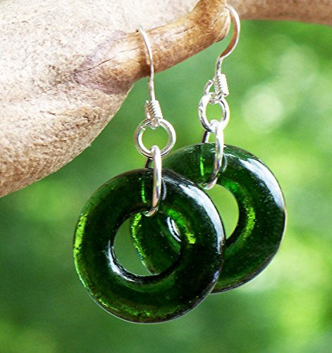 - Recycled Vintage Wine Bottle Glass Hoop Earrings