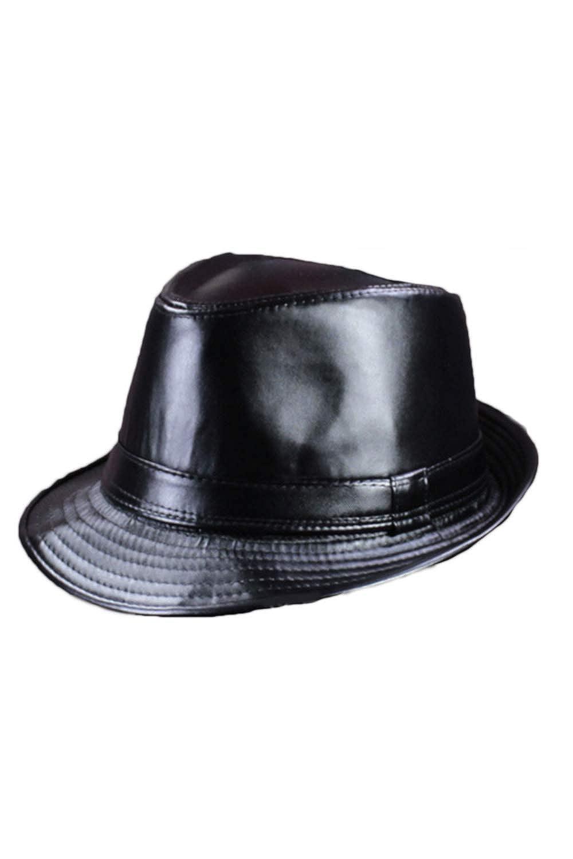 Jomuhoy Men Vintage Pu Leather Jazz Caps Gentleman Fedora Panama Hats CAJOM753-Black-F