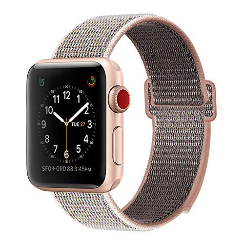 BEA FASHION Sport Bands Compatible with Apple Watch Band 38mm Soft Breathable Woven Nylon Replacement Sport Loop Band for Apple Watch Series 3 Series 2 Series 1 Pink Sand