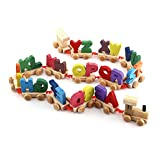 Kids Colorful Wooden Letters Train Tracks Set Educational Alphabetical Assemble Toy for Baby Toddler Birthday Children Gift