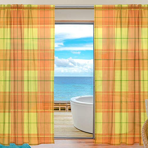 Orange Halloween Plaid Sheer Curtains 84 Inch Length Window Treatment Set 2 Panels ()