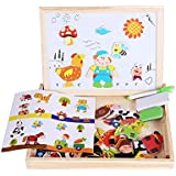 Joyshare Magnetic Puzzle Art Easel Farm Animal Puzzle Adjustable Double Sided with Drawing Chalkboard Games Dry Erase Board Learning & Educational Game Toy for Kids