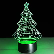Christmas Tree LED 3D Acrylic Visual Touch Night Light 7 Colors Changing Table Desk Deco Lamp Bedroom Children Room Decorative Nightlight for Kids
