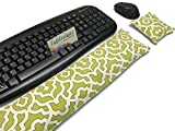 Unscented Flax Keyboard and Mouse Pad Wrist Rest. Ergonomic! Hot and Cold Microwave Pad. Green and White Geo.