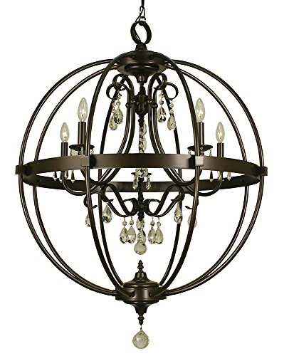 - Framburg 1069 MB 5-Light Compass Foyer Chandelier, Mahogany Bronze