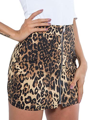 - WDIRARA Women's Casual Mid Waist Above Knee Zip Up Leopard Print Skirt Brown M