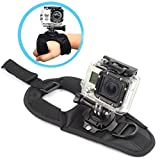 Walway 360 Degree Rotation Glove Style Band Wrist Strap Mount Strip Belt for GOPRO HERO 6 5 5 Session 4 Session 4 3+ 3 2 1 - Xiaoyi and Other Action Cameras - with Long Handle Screw