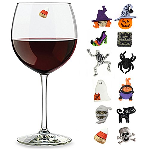 Halloween Wine Charms Set of 12 Magnetic Cocktail Markers - Great to add with Halloween Decorations -