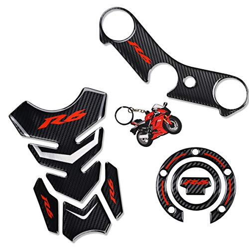 REVSOSTAR Real Carbon Fibre Gas Cap, Triple Tree Front End Upper, Top Clamp Decal Stickers, Tank Pad, Tank Protector for Yzf R6, 3 Pcs Per Set