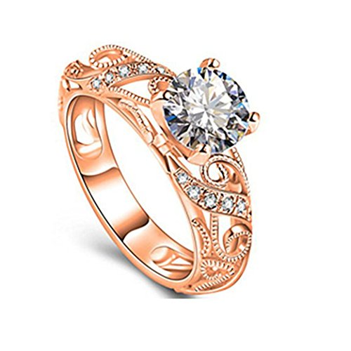 BEUU 2018 New Products Luxury Micro Setting Ring Diamond Four Claws Elegant Engraved Luxurious Inlaid With Claw Cut (Rose Gold, (Engraved Four)
