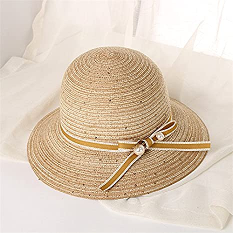 08c36aba4b6 Amazon.com   ALWLj Summer Women Straw Sun Hat Lady Wide Brim Hats Foldable Panama  Hat Seaside Beach Pearl Basin Cap Church Hat   Sports   Outdoors