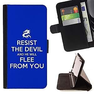 BullDog Case - FOR/Samsung Galaxy S4 IV I9500 / - / RESIST THE DEVIL /- Monedero de cuero de la PU Llevar cubierta de la caja con el ID Credit Card Slots Flip funda de cuer