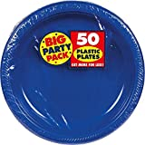 """Amscan Reusable Round Plates (Pack of 50), Bright Royal Blue, 10 1/4"""""""