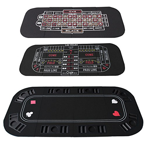 3 in 1 Folding Casino Texas Hold'em Table Top Black (Poker/Craps/Roulette) with Carrying Bag by IDS Home