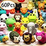 URSKYTOUS 60 Pcs Animal Pencil Erasers Bulk Kids Japanese Come Apart Puzzle Eraser Toys for Party Favors Classroom Prizes Carnival Gifts and School Supplies(Random Designs)