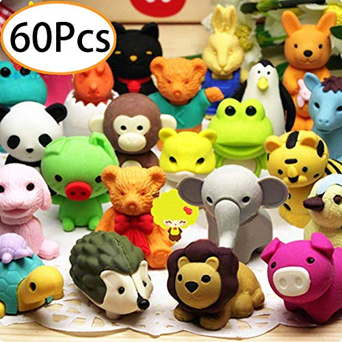 Collectible Erasers - URSKYTOUS 60Pcs Animal Pencil Erasers Bulk Kids Japanese Come Apart Puzzle Eraser Toys for Party Favors, Classroom Prizes, Carnival Gifts and School Supplies(Random Designs)