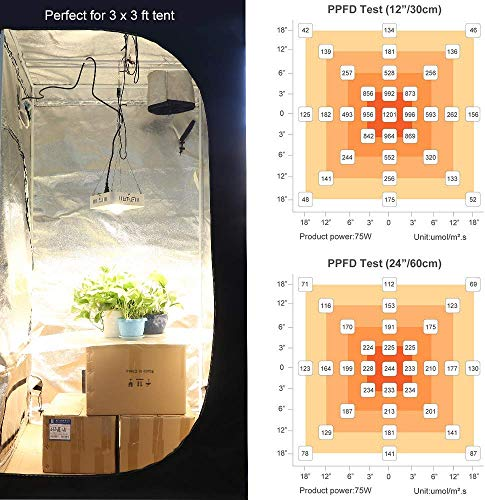 Dimmable MEANWELL Driver Wide Angle Glass Lens Designed for Special Plants CANAGROW CREE CXB3590 COB LED Grow Light Full Spectrum and Ultra Quiet Cooling Fan LED Grow Light for Indoor Plants