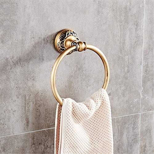 Towel Ring BAIF TowelRackQX Bathroom Shelf,European Antique Bathroom Space Aluminum Metal Pendant Bathroom Rack Set Double Rack
