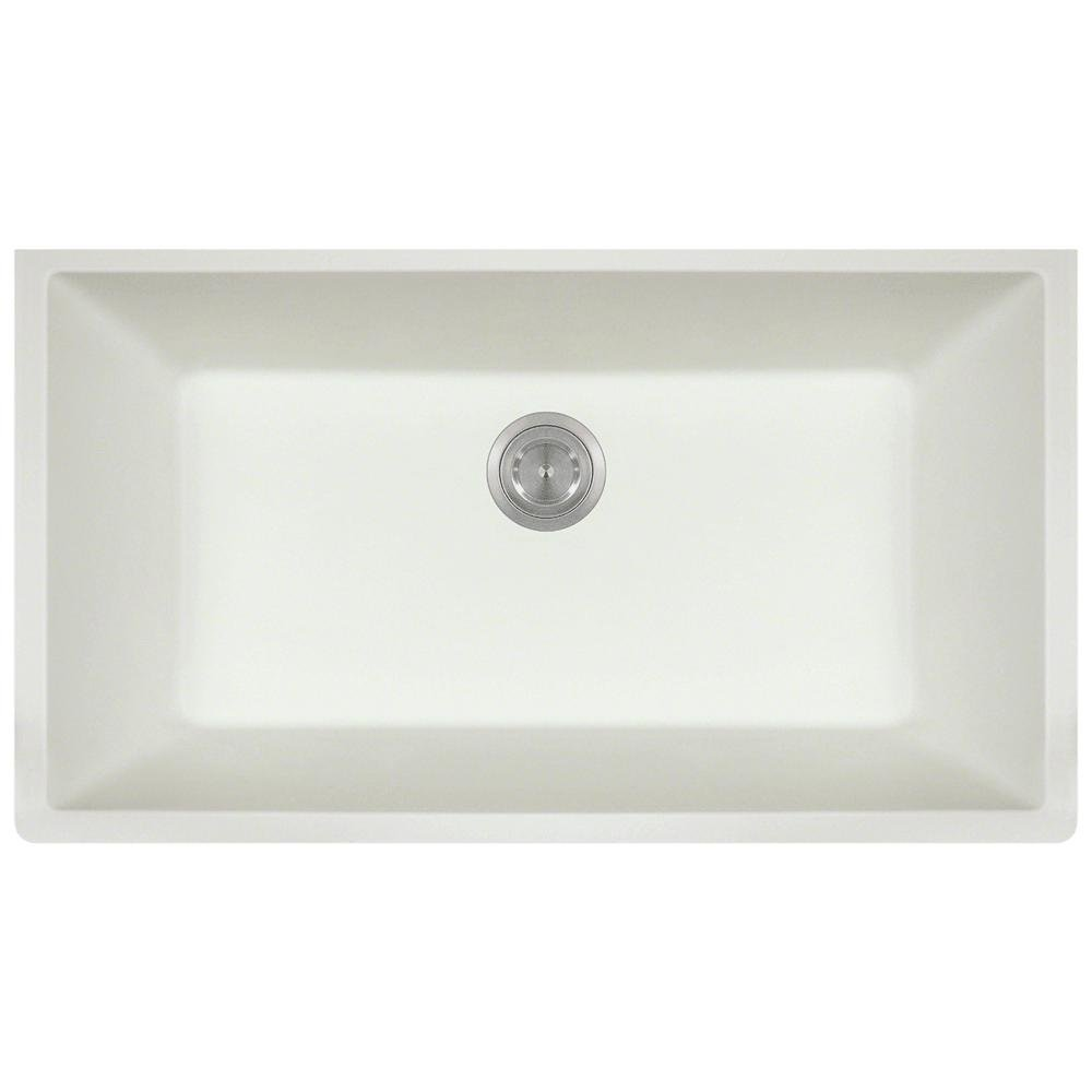 848 Large Single Bowl Quartz Kitchen Sink, White,  No Additional Accessories