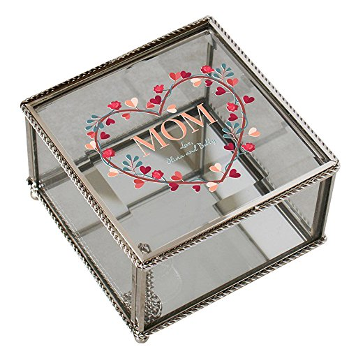 GiftsForYouNow Mom Heart Wreath Personalized Jewelry Box (Silverplate Heart Box)