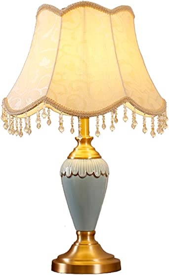 Table de nuit en lecture lampes salon chambre luminaire tissu noir en céramique Gold