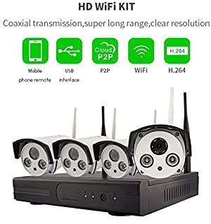 4CH 720P HD NVR Wireless Security CCTV Surveillance Systems(WIFI NVR Kits)-Four 1.0MP Wireless WIFI Indoor Outdoor IP Cameras,P2P,65FT Night Vision