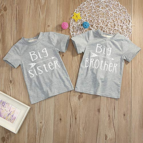 Younger star 1PC Children Baby Boy Gray Letter Print Short Sleeve T-Shirt Clothes Outfit (Gray-Brother, 3 T) by Younger star (Image #1)