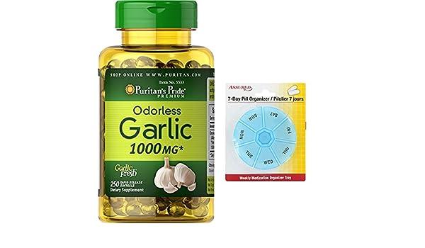 Amazon.com: Orgullo ajo inodoro 1000 cápsulas de 250 mg de liberación rápida de Puritan con gratis 7 días plástico píldora organizadores: Health & Personal ...