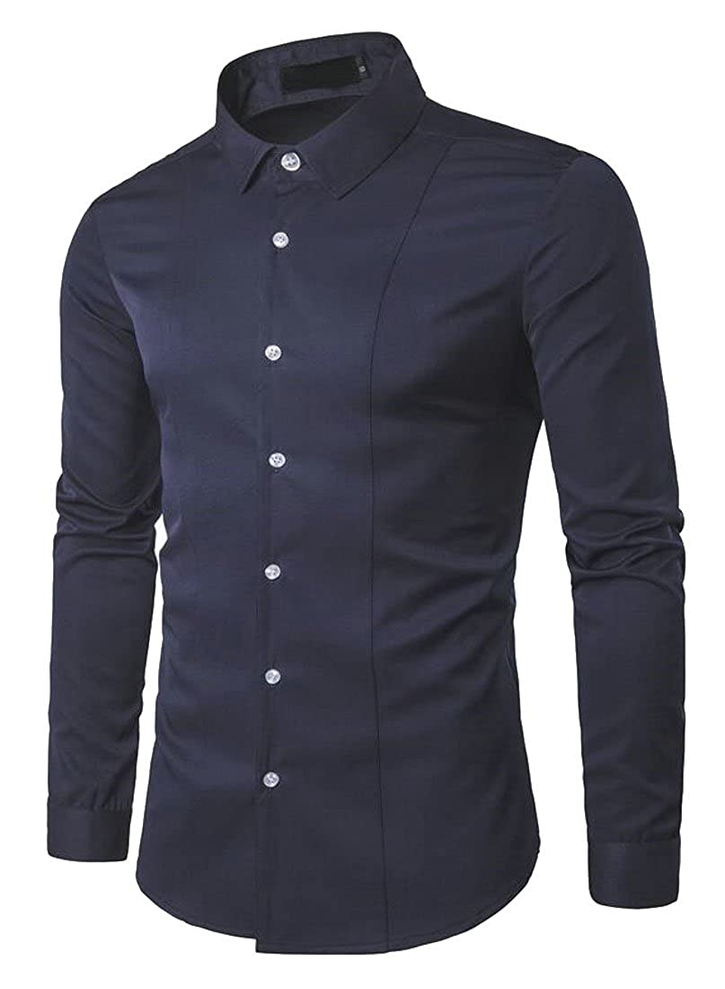 OTW-Men Stand Collar Long Sleeve Slim Formal Solid Color Dress Work Shirt
