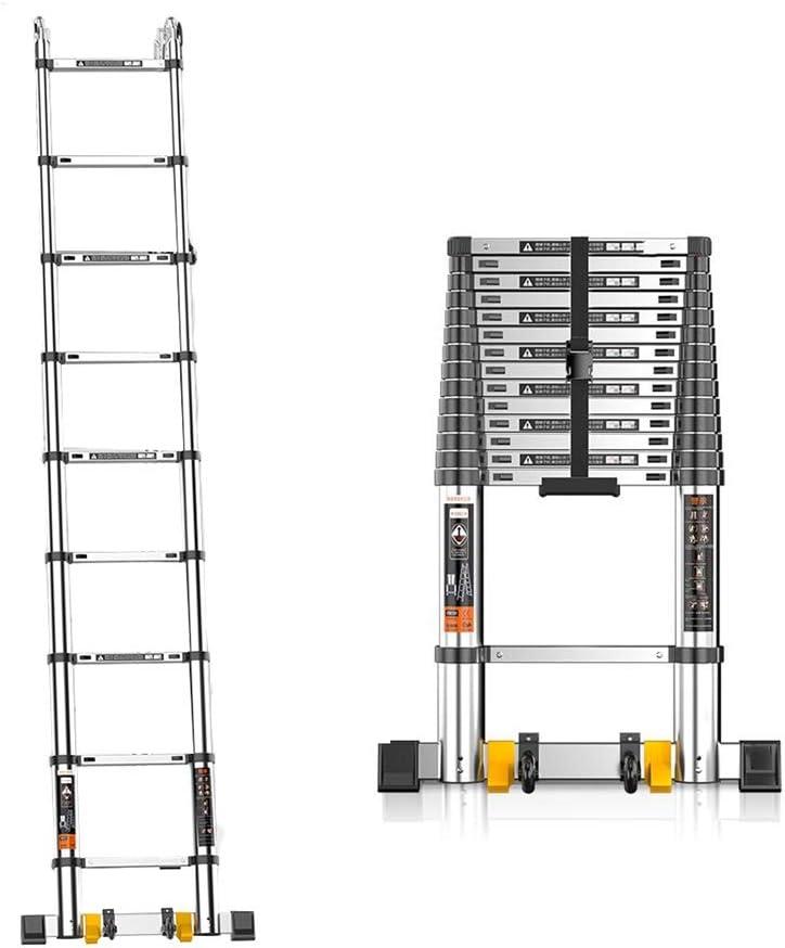 Escalera Telescópica/Escaleras Extensibles Escalera Recta - Escalera De Extensión Telescópica De Aluminio De Alta Resistencia Con Barra Estabilizadora - Escalera Telescópica De Carga De Ingeniería Por: Amazon.es: Bricolaje y herramientas