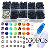 530pcs Lava Beads Stone Rock with Chakra Beads Round Black Lava Volcanic Stone Loose Beads Natural Stone Beads for Essential Oil Jewelry Making