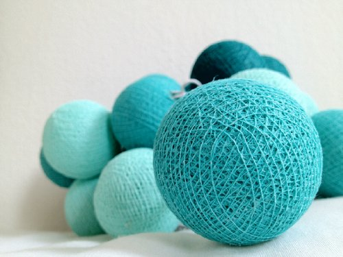 Inspire 20 Cotton Ball String Fairy Light Home Party Wedding Decor Terquise Color Tone