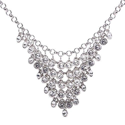BaubleStar Bling Rhinestone Crystal Bunch Pendant Bib Collar Statement Chunky Necklace Bride Wedding Jewelry Silver for Women Girls BAN0101 by BaubleStar