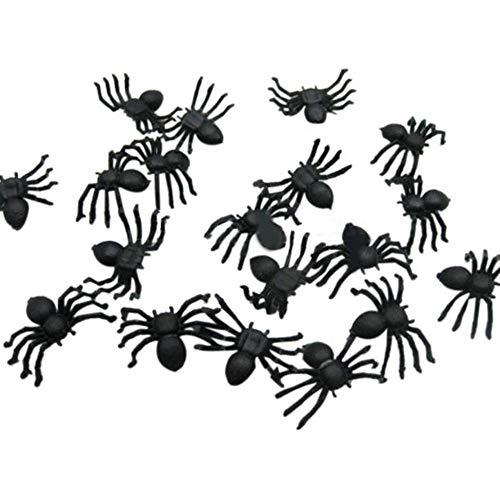 Yoyorule 50pcs Halloween Mini Plastic Black Luminous Spider Prank Joking Birthday Toys DIY Decorative Spiders 2cm Spider Party Props ()