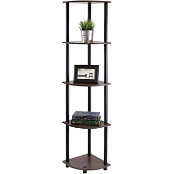 Kings Brand Grey Finish Wood Wall Corner 5 Tier Bookshelf Display Stand ~New~
