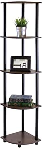 Furinno 99811DB-WG/BK Turn-N-Tube 5 Tier Corner Shelf, Dark Brown Grain/Black