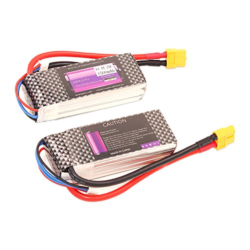 LiPo RC Battery 1500mAh 2 PACK 25C 3S 11.1V with XT60 Plug for Boat Heli Airplane UAV Drone FPV Racing (25C-3S-1500mAh)