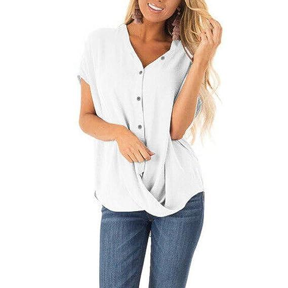 760f3a6dd203 VEMOW Camisetas Mujer Las Mujeres Blusas del Verano de Manga Corta ...