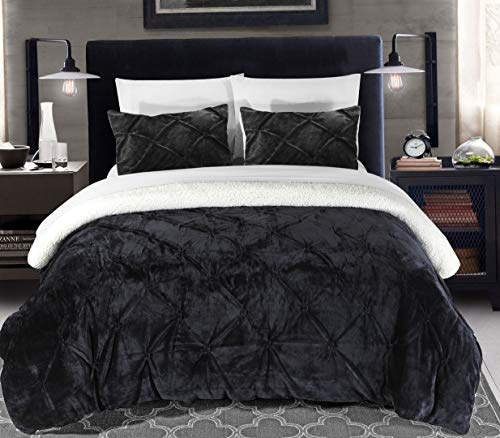 Hemau Premium New Soft 3 Piece Josepha Pinch Pleated Ruffled & Pintuck Sherpa Lined Comforter Set, King, Black | Style -