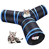 Pettry Cat Tunnel, 3 Way Play Toy Collapsible Maze with Bell and Catnip for Rabbits, Kittens, and Dogs