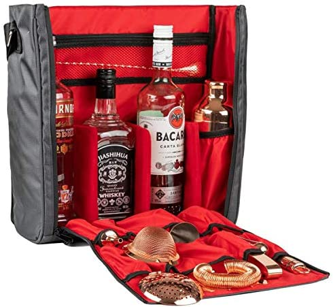 Bar Set Carrier Travel Bag, Waterproof Bartender Bag Perfect for Home Bar Travelling, Camping-Grey Bag Only