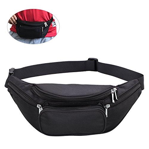 Zipper Black Waist Bum Bag Fanny Pack Travel Pocket - 2