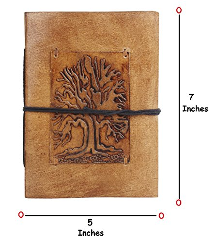 RUSTIC TOWN Handmade Vintage Antique Looking Genuine Leather Journal Diary Notebook for Men Women Brown Gift for Him Her (Tree of Life Brown)