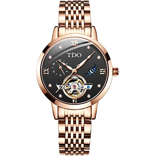 ALXDR Ladies Automatic Mechanical Watch Fashion Hollow Steel Waterproof Women Rose Gold Wristwatches with Luminous Tourbillon Moon ()