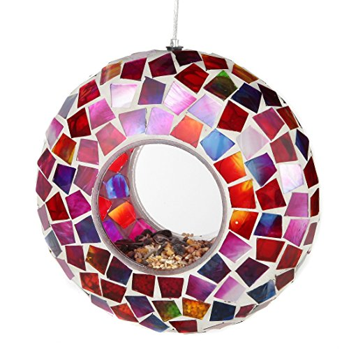 Lily's Home Hanging Outdoor Fly Through Wild Bird Feeder, an Excellent Addition to Any Garden, Mosaic (6 Inches)