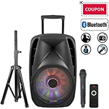 "STARQUEEN Portable Bluetooth Speaker 15"" Woofer, Outdoor Rechargeable PA System with Wireless Micorphone/Remote/Wheels/DJ Light/Stand, Big Karaoke Party Amplifier Sound System with AUX/FM Radio/SD/USB"