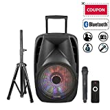 STARQUEEN Portable Bluetooth PA System, 15'' Woofer Speaker with Rechargeable Battery, USB/SD/FM Radio Function, Mic/Guitar Jack, Tripod Stand Included, Black