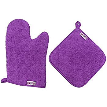 Lavlish Oven Mitt & Pot Holder Set 100% Cotton, Purple