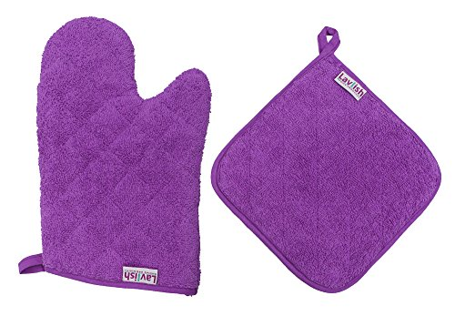 Lavlish Oven Mitt & Pot Holder Set 100% Cotton, (Quilted Pot Holders)