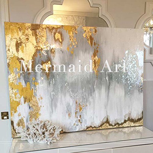 Orlco Art Modern Abstract Oil Painting Hand Painted Wall Art Gold,Gray,White etc 'Buried Treasure '32x48inch with The Stretched (White And Gold Art)